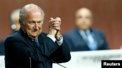 Президент ФИФА Йозеф Блаттер после переизбрания. Цюрих, 29 мая 2015 года.