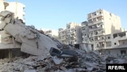 Әуе шабуылынан қираған ғимараттар. Алеппо, 14 қазан 2016 жыл.