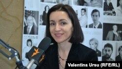 Maia Sandu în studioul Europei Libere