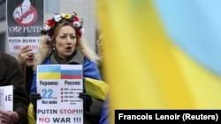 Акція в Бельгії проти агресії Росії щодо України. Брюссель, 17 березня 2014 року