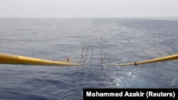 The cables of a side-scan sonar is seen in the waters of the Mediterranean sea, during a tour of areas believed to have gas reserves, off Lebanon's coast near Beirut May 30, 2013
