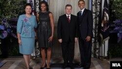 Претседателот Ѓорге Иванов и неговата сопруга на прием организиран од американскиот претседател Барак Обама во Њујорк.