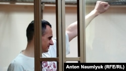 Ukrainian film director Oleh Sentsov in court on August 25, 2015