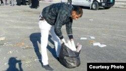 احد شباب حملة تنظيف البصرة