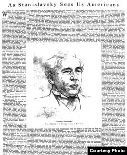 Интервью Станиславского в газете New York Times (11 марта 1923 года) заняло почти полторы полосы