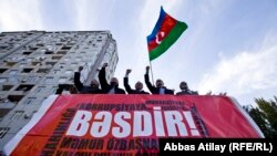 Baku. Oppozisiýa kandidaty Jamil Hasanlynyň protest aksiýasy