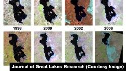 Арал теңізі құрғауының әр жылдардағы спутниктен түсірілген көрінісі.