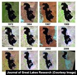 صفحه دوم مقاله نشاندهنده روند خشکشدن و تغییرات دریاچه از سال ۱۹۷۲ تا ۲۰۱۴ با عکسهای ماهواره لندست است. منبع: ژورنال جهانی پژوهشهای دریاچههای بزرگ 2014.J.Great Lakes Res