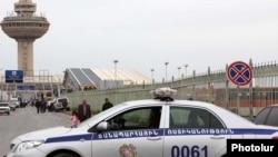Armenia - A road police car outside Zvartnots international airport.