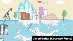 "Cartoon by Javad Gaffar, winner of the contest ""Draw the truth"" launched by Art for Democracy."