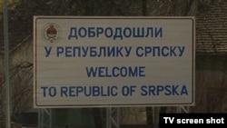 Natpis na ulazu iz Hrvatske u BiH u Bosanskom Brodu.