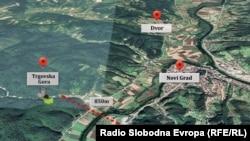 Trgovska gora udaljena je manje od tri kilometra od granice s BiH