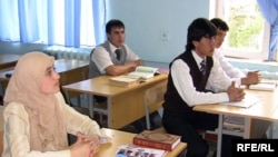"Students attend the new ""secular-religious"" school in Dushanbe."
