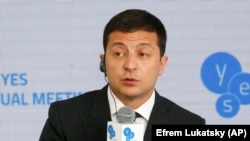 Ukrainian President Volodymyr Zelenskiy addresses the Yalta European Strategy meeting in Kyiv on September 13.
