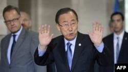 Генеральный секретарь ООН Пан Ги Мун в преддверии переговоров в Женеве, 14 июня 2015 года.