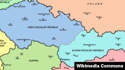 Карта Чехословакии до распада в 1992 году