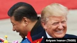 Председатель КНР Си Цзиньпин и президент США Дональд Трамп в Пекине, 9 ноября 2017 года
