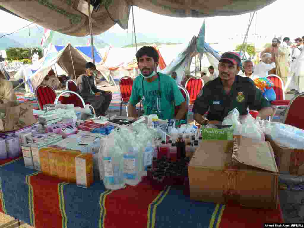 Vendors sell medical supplies at the protest camp.