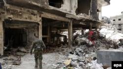 Дамаск көшелерінің бірі. Сирия, 9 сәуір 2015 жыл.