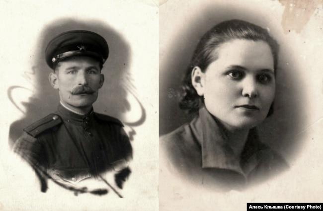 Лейтенант Александр Клышка 1944 год (слева) и сотрудница радиокомитета Анастасия Голубева, 1932 год