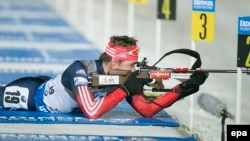 The biathlon combines cross-country skiing and rifle shooting.