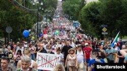 Участники акции протеста 25 июля в Хабаровске