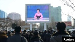 Ракета учуруу боюнча телекөрсөтүү аркылуу жарыяланган учур. Түндүк Корея, 7-февраль, 2016-жыл.