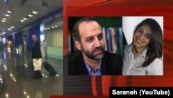 Former head of IRIB Mohammad Sarfaraz and his aide Shahrzad Mirqolikhan in a grab image of Sarafraz's online interview disclosing corruption in IRGC.