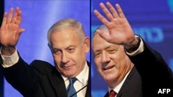 Premieruul Benjamin Netanyahu și contracandidatul Benny Gantz.