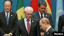 Президент Росії Володимир Путін біля голови Європейської ради Германа Ван Ромпея під час саміту G20, Брісбен, Австралія, 15 листопада 2014 рок