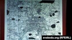 Мапа масавых расстрэлаў у Менску, складзеная Ігарам Кузьняцовым