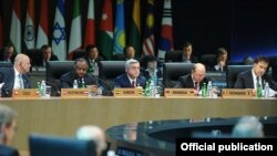 South Korea - Serzh Sarkisian, President of Armenia (C), at the 12th Nuclear Security Summit in Seoul, 27Mar2012