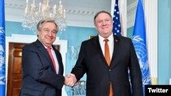 دیدار مایک پومپئو، وزیر خارجه آمریکا، و آنتونیو گوترش، دبیرکل سازمان ملل، روز چهارشنبه در واشینگتن برگزار شد.