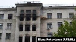 Будинок профспілок на площі Куликове поле в Одесі після пожежі