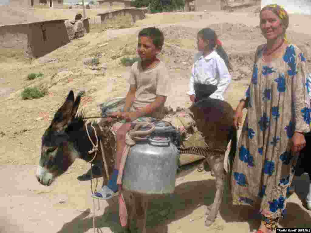 Villagers in Okmazor, Tajikistan, use a donkey to help transport drinking water.