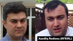 "Freedom House says the Azerbaijani government ""should end its campaign of innuendo and threats against"" lawyers Fariz Namazli (left) and Elcin Sadiqov."