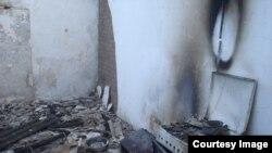 Один из сожженных домов в чеченском селе Янди, принадлежащий, предположительно, участникам событий в Грозном 4 декабря