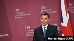 U.K. -- British Foreign Secretary Jeremy Hunt speaks during a joint press conference at the Foreign Office in central London, May 8, 2019