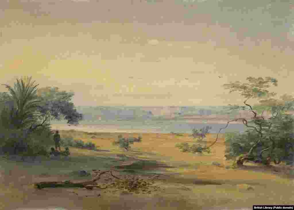 "A period painting of the bay at Sagallo by German landscape artist Johann Martin Bernatz (1802-78). The village itself was an abandoned Egyptian fort, described by one historian as ""a miserable collection of hovels."""