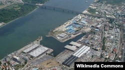 An aerial view of the port of Belgrade, near Pancevo Bridge