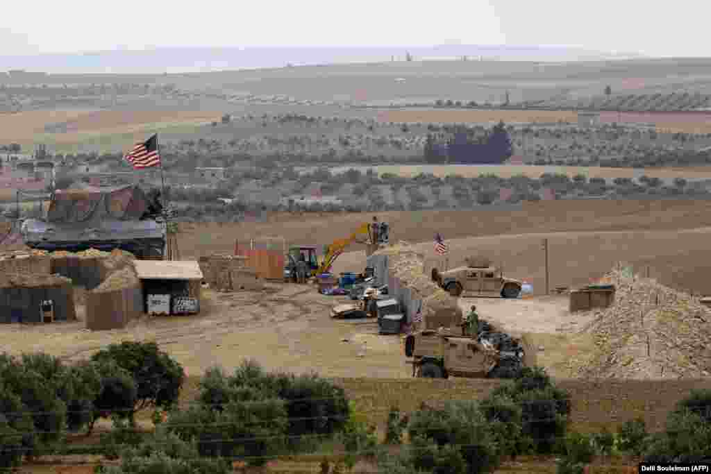 A U.S. base near Manbij in May 2018. The most infamous clash of the U.S. deployment came when hundreds of fighters aligned with the Syrian regime -- many of them Russian -- ​launched an attack on a Kurdish base with U.S. special forces inside...