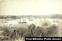 A sketch of Sydney harbor, where the Russians traveled to resupply and repair their ships.