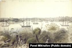 Эскиз гавани Сиднея, где участники экспедиции пополняли продуктовые запасы и ремонтировали корабли.