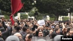 Демонстрация в Тунисе, 14 января 2011 г.