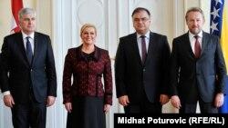 Predsjednica Hrvatske Kolinda Grabar-Kitarović sa redsjedništvom BiH u sarahevu u martu 2015. godine.