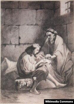 Тони Жоанно. Эдмон Дантес и аббат Фариа читают завещание кардинала Спада в замке Иф. Рисунок из прижизненного издания романа 1846-52 годов.