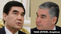 A combination photo of Turkmen President Berdymukhammedov in 2017 (left) and 2019.