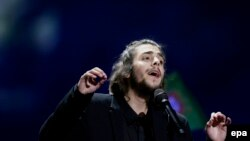 Salvador Sobral from Portugal performs the winning song at the Eurovision Song Contest in Kyiv.