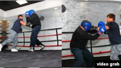 Шешенстан президенті Рамзан Қадыров пен мәдениет және спорт министрі Саламбек Исмаилов.