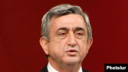 Armenian President Serzh Sarkisian speaks at a party congress on November 28.